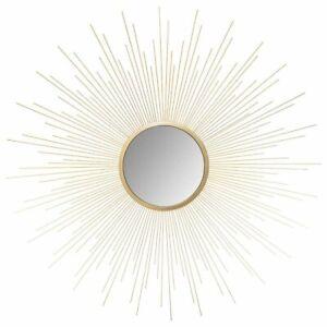Spiegel Wandspiegel mit Sonnenstrahlen, gold, Ø 70 cm