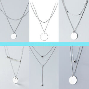 Real 925 Solid Sterling Silver Pendant Necklace Curb Chain All Size Stamped Lady