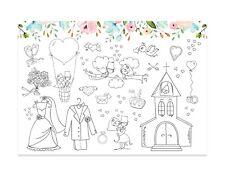 10 Platzset für Kinder zum Ausmalen, Hochzeit Malbuch