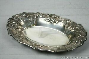 """Silver Plate Oblong Bowl Dish Embossed Floral Wheat Shell Raised Pattern Rim 12"""""""