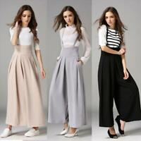 Ladies Cross Strap Wide Leg Overall Pants Culottes High Waist Loose Wide Trouser