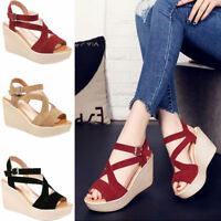 Women Lady Cross Bandage Sandals Wedge Heels Platform Open Toe Hollow Shoes Size