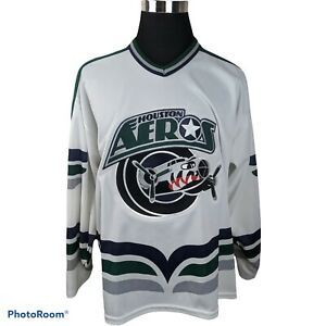 Vintage 90s Houston Aeros IHL Hockey Jersey White Mens XL International League