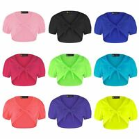 Girls Shrug Tie Up Front Cropped Bolero Kids Short Cap Sleeve Top Sizes 1-14 Y
