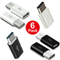 6 Pack USB Type-C 3.1 Male Connector to Micro USB Female Converter Adapter Lot