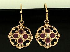 Natural Ruby Rose Gold Fine Earrings