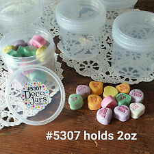 12 Clear Hobby JARS 2 ounce Container Plastic Screw Cap Makeup Parts 5307 USA