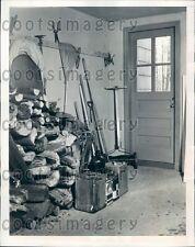 1942 Yard Tools Antique Push Mower Firewood in Garage Press Photo