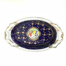 BAVARIE Blue Fine Porcelain 24K Gold Decorative Dish with Handles #209