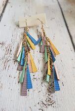 Retro Multi-Coloured Dangle Earrings / Handmade  Metal Tassel Detail