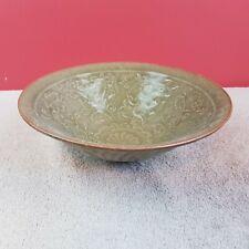 Alte chinesische Celadon Schüssel Schale Craquelure Porzellan schönem Motiv
