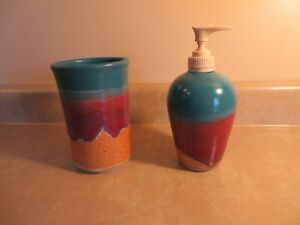 Laster Pottery Bathroom Soap Dispenser and Cup Hand Made and Signed