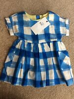 M & S Girls Age 3-6 Months Blue + White Check Viscose Short Sleeved Dress BNWT