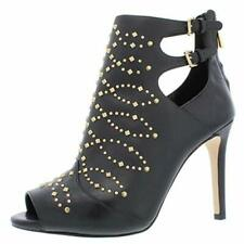 New in Box Michael Kors Jordana Black Leather Ankle Booties Boots Open Toe 8.5