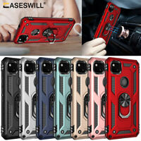 For Google Pixel 4A Rugged Armor Hybrid Shockproof Ring Holder Stand Case Cover