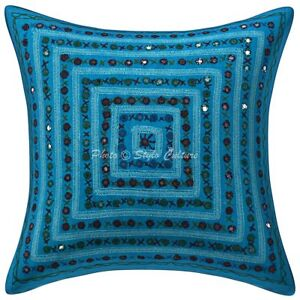 "Indian Mirror Cotton Cushion Cover Handmade Design Throw Pillow Case Cover 16"""