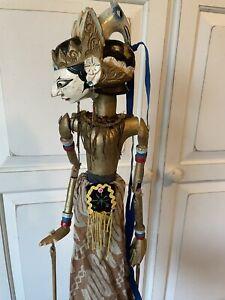 "Wayang Golek Long Beak Javanese Indonesian Wood Stick Puppet Approx 29"""