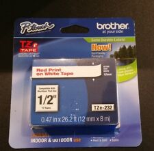 """Brand new Brother P-touch TZe-232 1/2"""" Red Print on White Tape"""