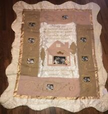 Cracker Barrel Quilted Throw 60� X 50� Picture Sleeves Off White & Gold Family