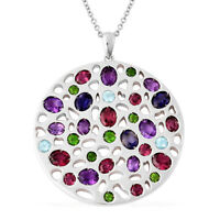 "925 Sterling Silver Rhodolite Garnet Amethyst Necklace Pendant Size 30"" Ct 6.5"