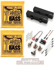 EMG J SET BLACK FENDER JAZZ BASS SET PICKUPS ( 2 ERNIE BALL #2833 BASS STRINGS )