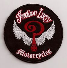 AUFNAEHER / ROUND EMBROIDERY PATCH / INDIAN LARRY MOTORCYCLES CHOOSE COLORS