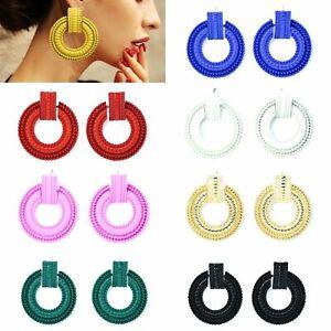 Round Coloured Dangle Earrings Ear Studs Statement Geometry Drop Earrings Style