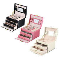 PU Leather Jewelry Box Organizer Storage Mirror Rings Earrings Necklace Holder