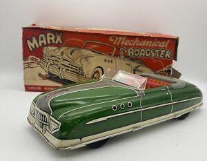 Vintage Marx Roadster Green Convertible Litho Windup Near Mint Box