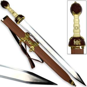 Maximus Roman Gladiator Sword Golden Medieval Gladius | Leather Wrapped Scabbard