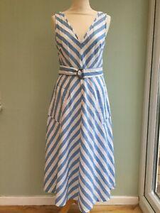 KATE SPADE DRESS UK 8 US 4 LINEN/ COTTON MIX BLUE & WHITE LINED RP £250 BNWT