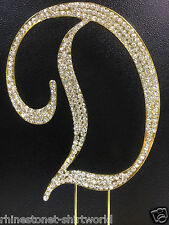 "GOLD Plated Rhinestone  Monogram Letter ""D""  Wedding Cake Topper  5"" inch high"