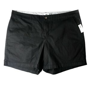 Old Navy womens black shorts size 20 flat front Chino BlackJack Plus high rise
