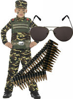 Army Military Boy Kids Soldier Action Man Fancy Dress Costume + Bullets & Shades