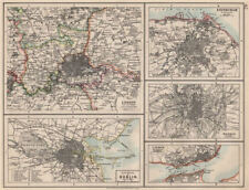 EUROPEAN CITIES. London Edinburgh Madrid Lisbon Dublin. JOHNSTON 1903 old map
