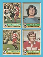 FOOTBALL - TOPPS  GUM  -  4  DIFFERENT  FOOTBALLERS  -  MIDDLESBROUGH  -  1977