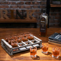 MyGift 12 Shot Glass Barware Serving Set with Rustic Torched Wood Tray