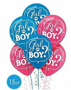 """(15ct) Girl or Boy? Gender Reveal Latex Balloons Party Supplies 12"""" Round"""