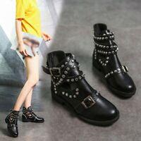 US Women Fashion Rivet Belt Buckle Ankle Boot Student Large Size Single Boot