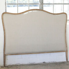 French Shabby Restoration Chic King Sized Linen Upholstered & Oak Wood Headboard