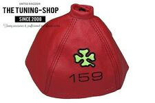 "For Alfa Romeo 159 05-11 Gear Gaiter Red Leather ""Clover"" Black Embroidery"