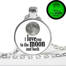 UK GLOW IN THE DARK I LOVE YOU TO THE MOON & BACK NECKLACE Jewellery Gift Idea