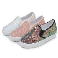 Women Flat Shoes Canvas Sequin Glitter Loafers Ladies Casual Slip On Sneakers