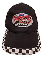 SUPERFLO Exxon Racing Patch VINTAGE Black Buckle Adjust Checkered Flag Cap OSFA