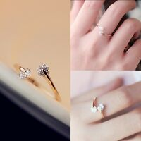 New Fashion Womens Lady's Gold Plated Shine Crystal Bridal Engagement Charm Ring