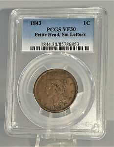 1843 Petite Head Small letters US Large Cent 1c Copper PCGS VF 30 C8