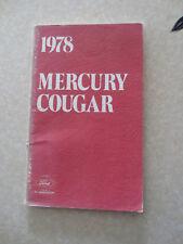 Original 1978 Ford Mercury Cougar car owner's manual