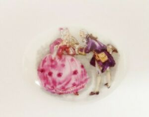 Vintage Porcelain Victorian Courting Couple 40x30mm. Limoge Cameo Cabochon 141