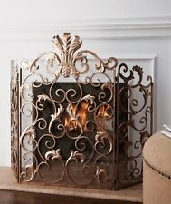 Tuscany Old World Antique Gold Iron Acanthus Leaf Fireplace Screen Horchow