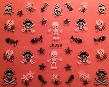 Nail Art 3D Decal Stickers Halloween Skull Skeleton Fish Star Pirate JH090